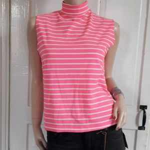 Vintage 60s/70s Retro Hot Pink Striped Blouse